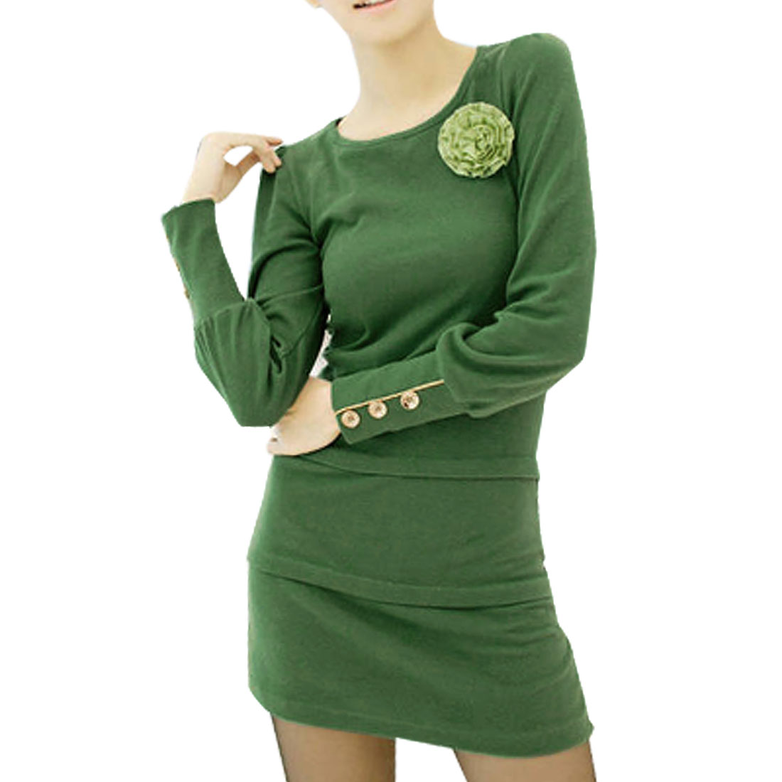 Women Green Scoop Neck Long Sleeves Stretchy Mini Dress XS