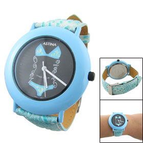 Women Baby Blue Crocodile Print Faux Leather Band Quartz Watch