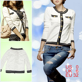 Black Hem Button Closure White Autumn Coat XS for Women