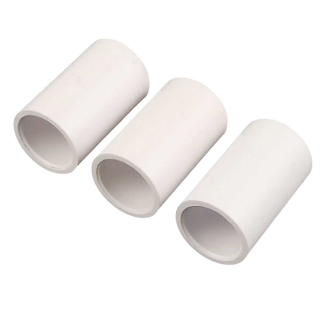 3 Pcs White PVC-U Water Piping Straight Adapter Connectors