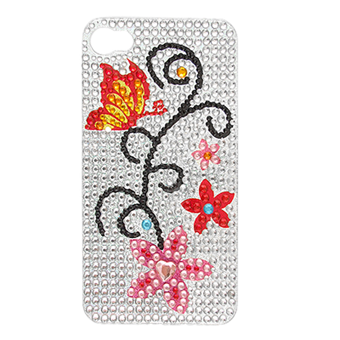 Flower Detail Glitter Crystal Self Adhesive Back Sticker for iPhone 4