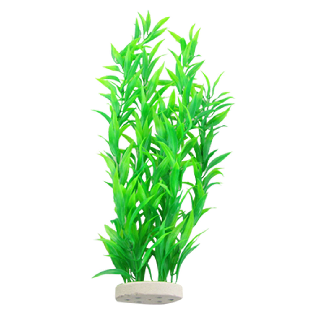 Oval Ceramic Base Green Plastic Long Grass for Fish Tank