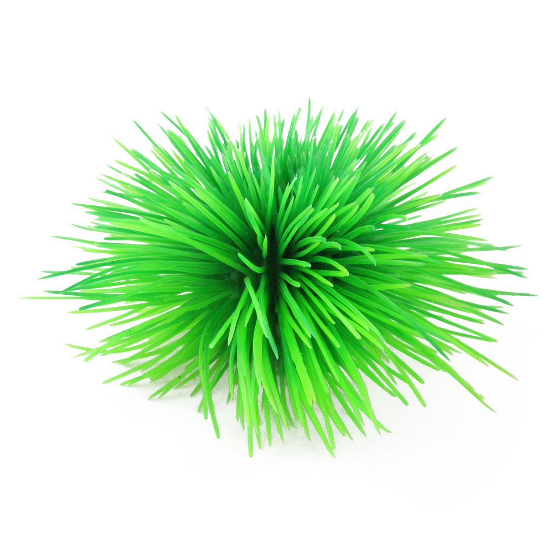 Round Ceramic Base Green Needle Like Leaves Plastic Grass for Fish Tank