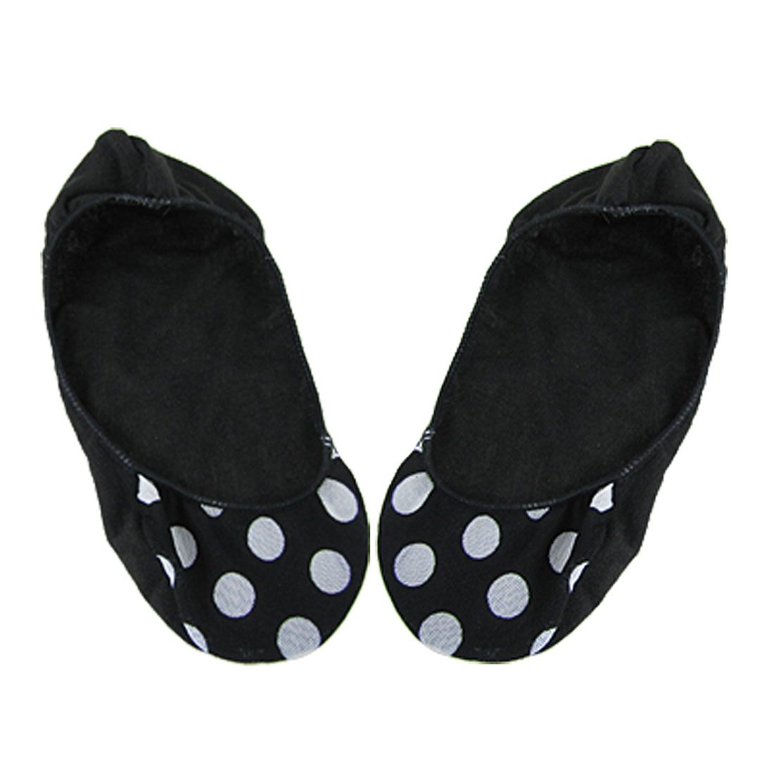 Soft Elastic Dots Print No Show Boat Socks Black for Girls