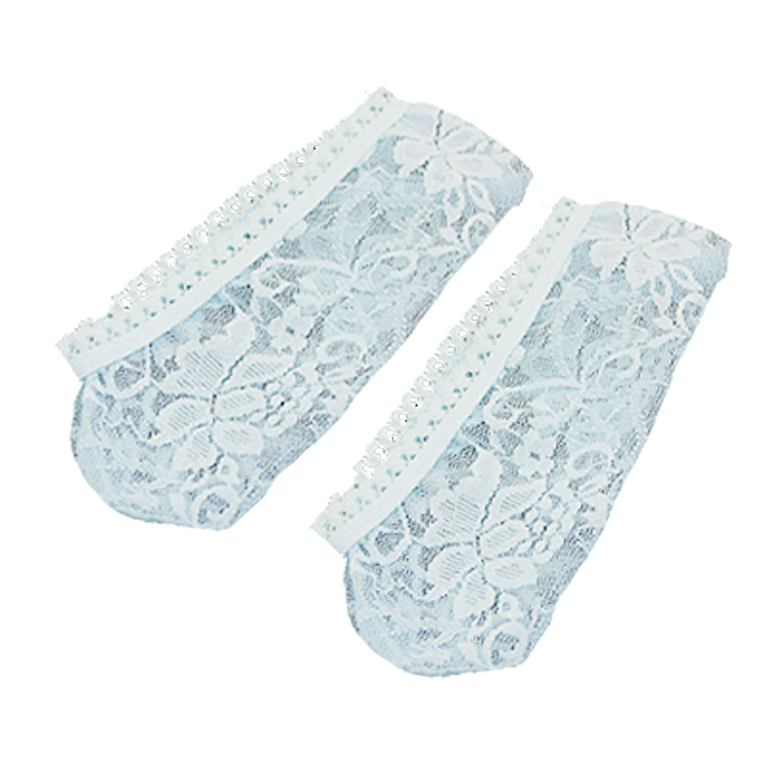 Pair Light Blue Stretch No Show Footies Lace Loafer Socks for Woman