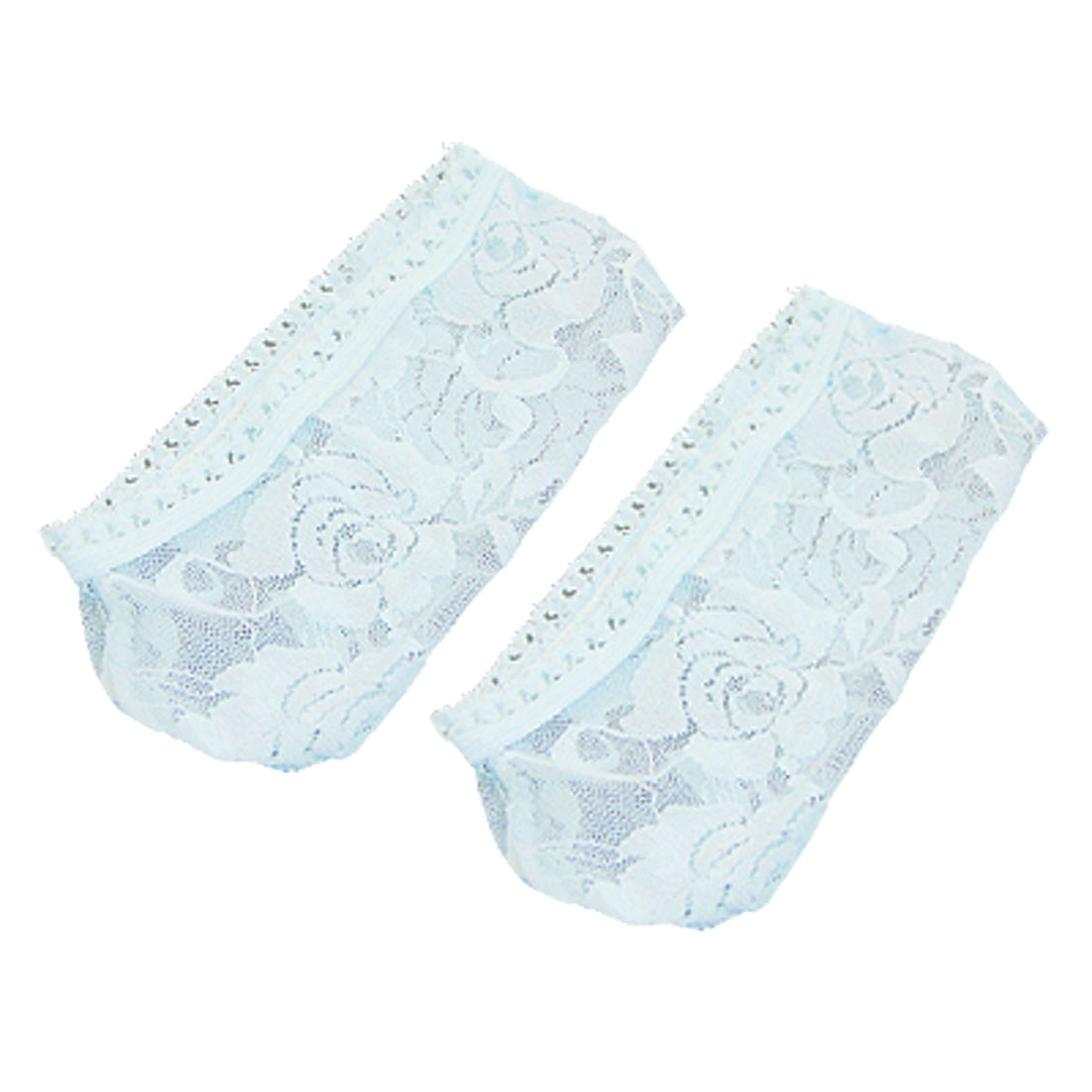 Women Light Blue Rose Print No Show Footies Lace Socks 2 Pcs