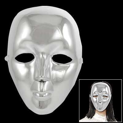 Halloween Masquerade Party Silver Tone Plated Plastic Full Face Mask