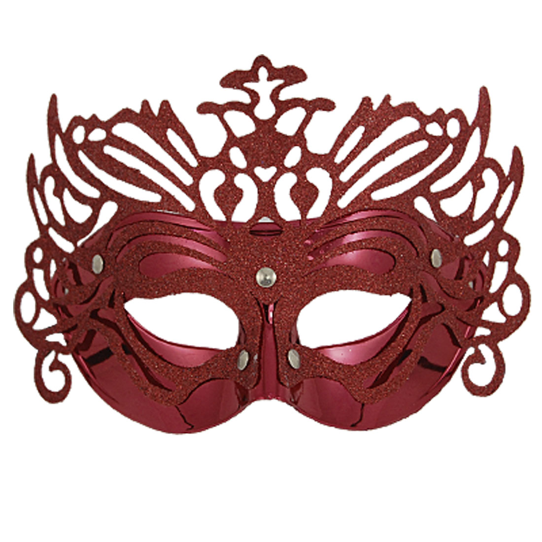 Ladies Glittery Powder Plastic Masquerade Mardi Gras Party Mask Red