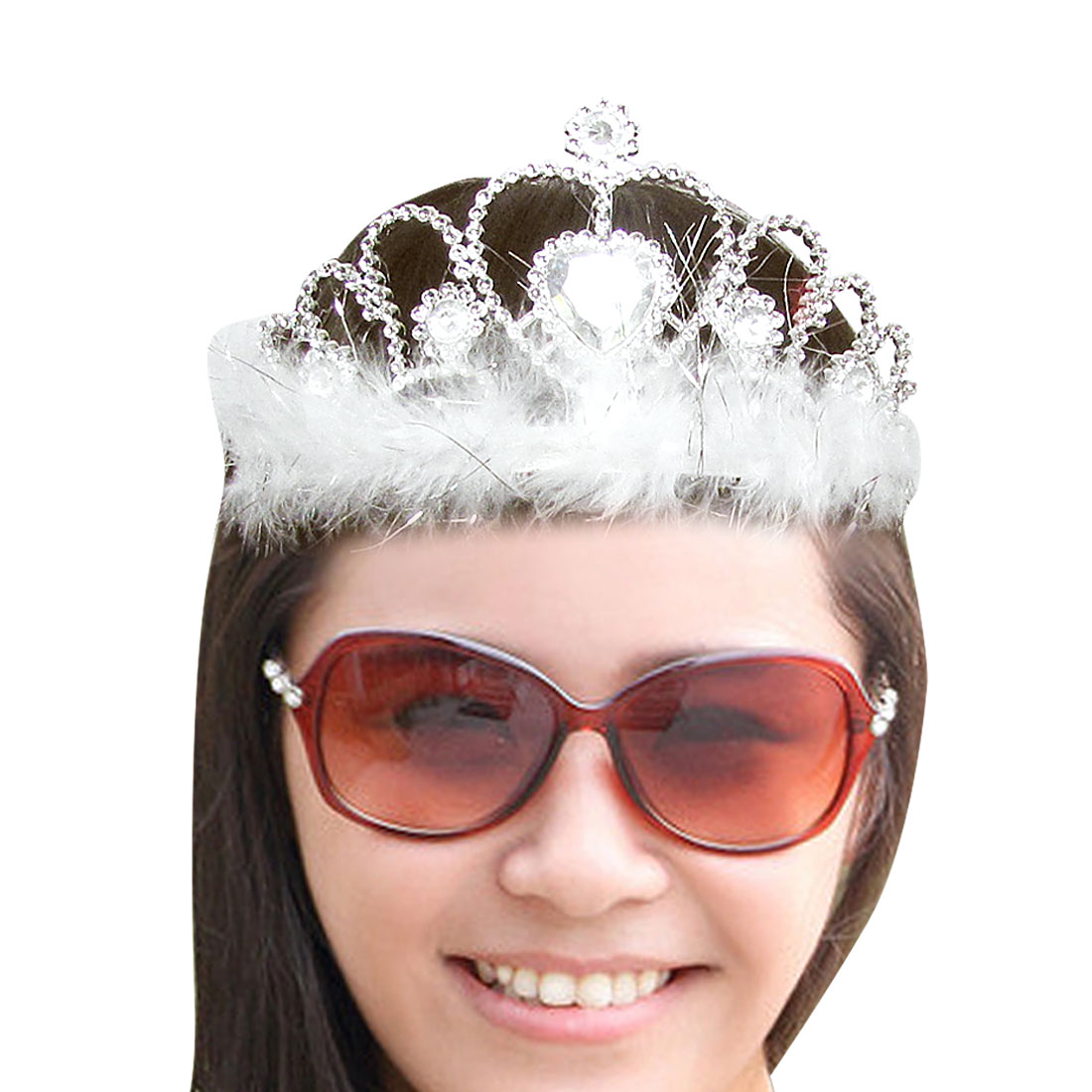 White Feather Detailing Plastic Silver Tone Hair Crown for Women