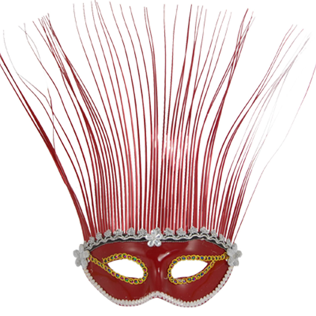 Red Metallic Hair Rhinestone Flower Plastic Masquerade Mask for Woman