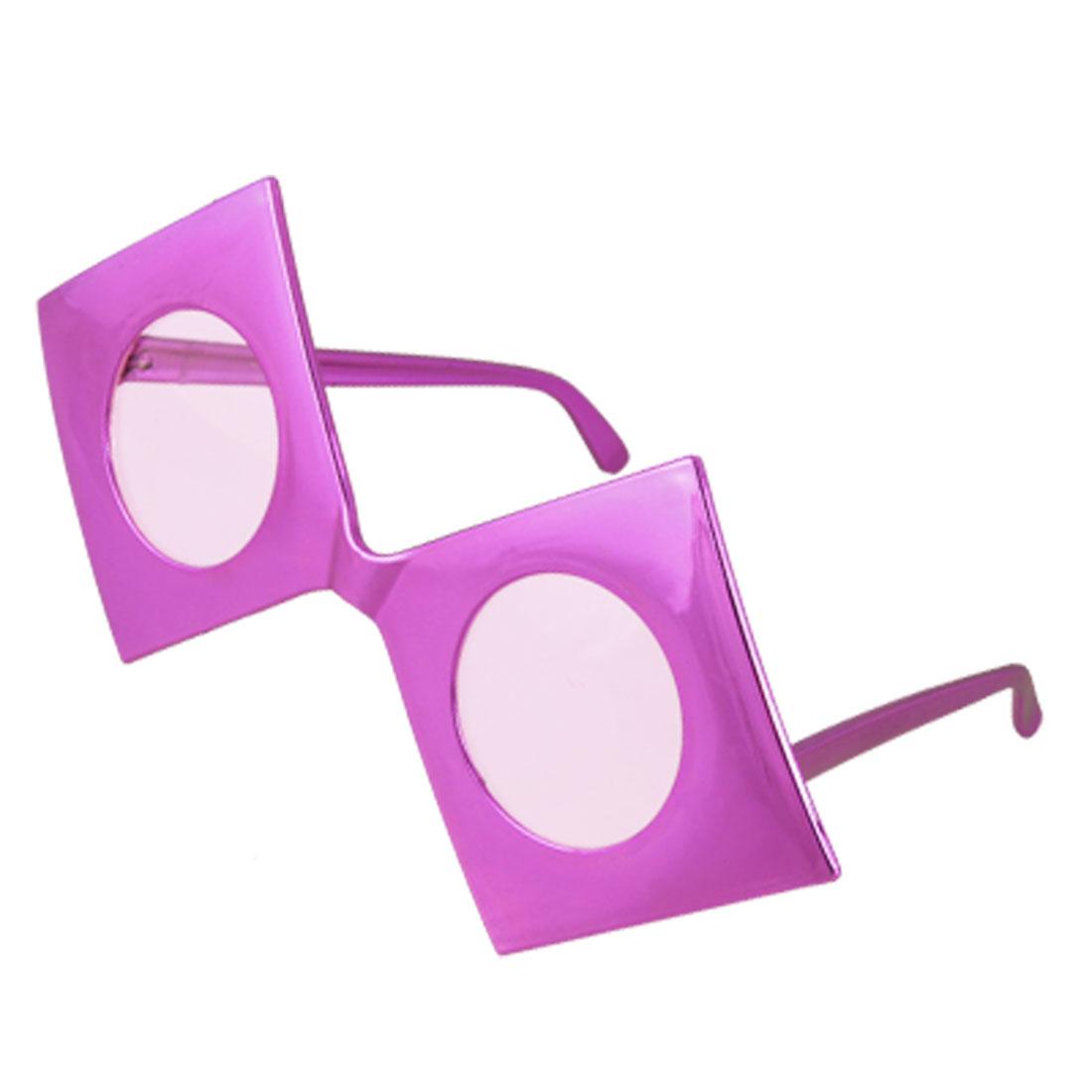 Single Bridge Round Lens Fuchsia Square Frame Plastic Glasses