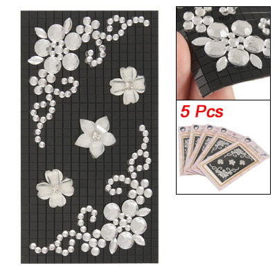 Phone MP3 Rhinestone Decor Beige Flower 3D Stickers Black 5 Pcs