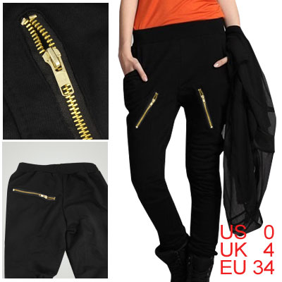 Women Black Elastic Waist Zipper Decor Low Rise Casual Pants XS