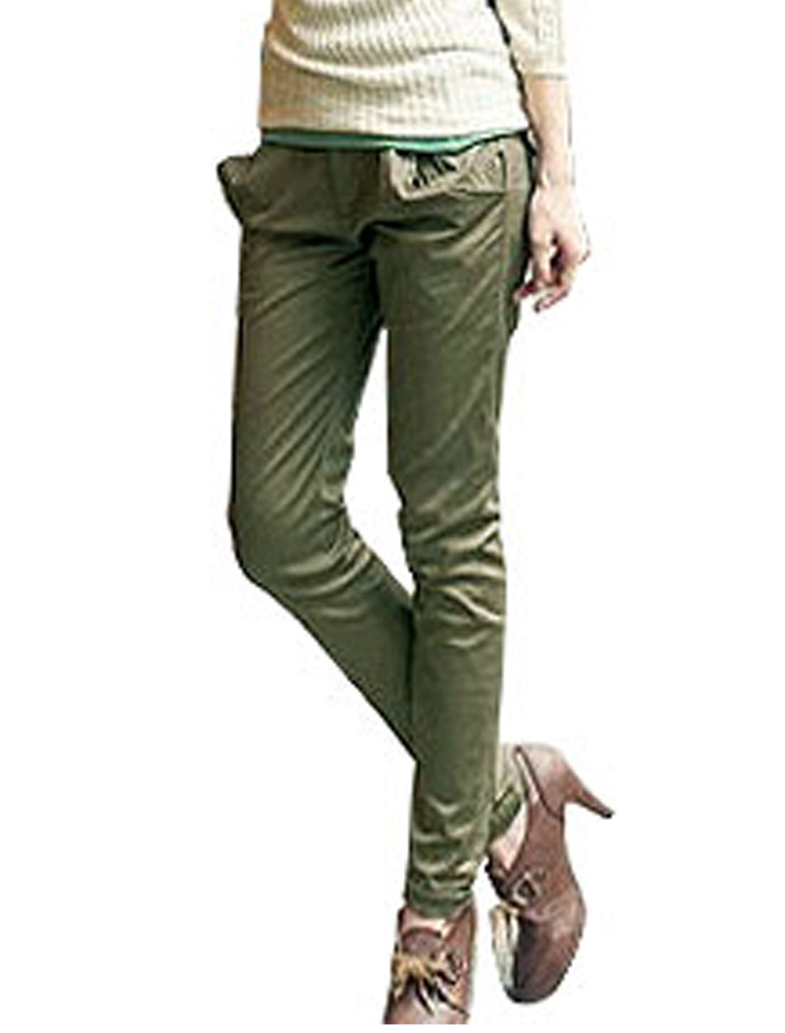 Woman Back Elastic Waist Army Green Casual Harem Pants S