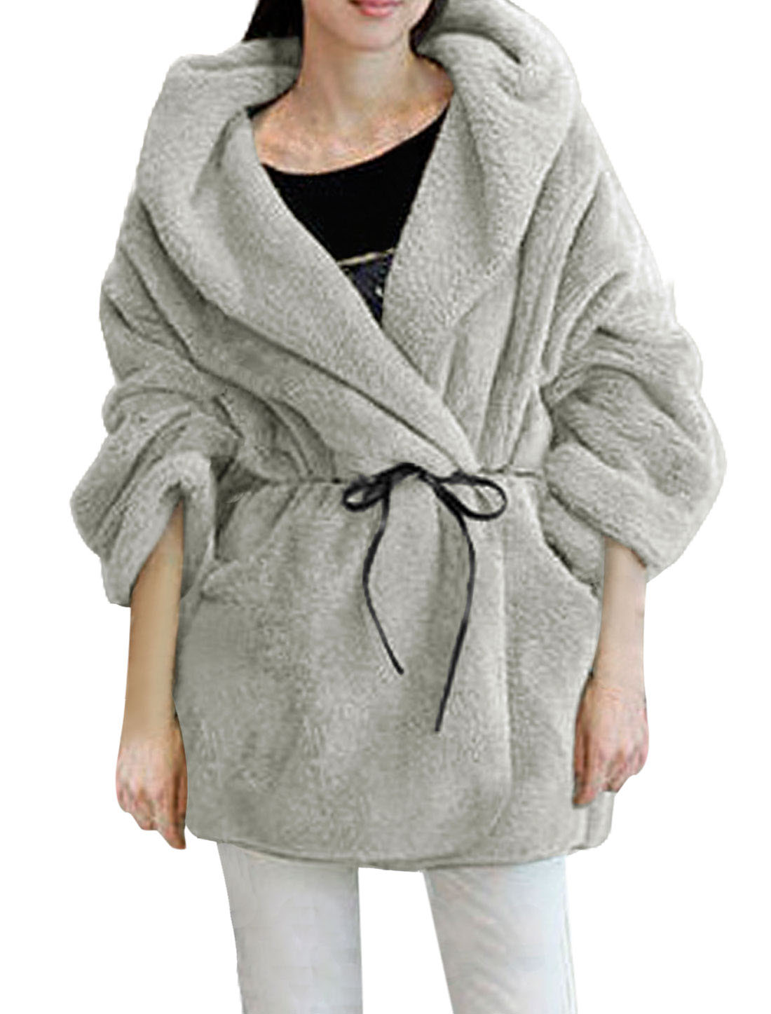 Woman Light Gray Hooded Long Sleeve Bathrobe Style Plush Coat S