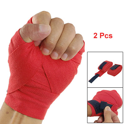 2 Pcs Loop And Hook Closure Boxing Hand Wrist Wrap Red