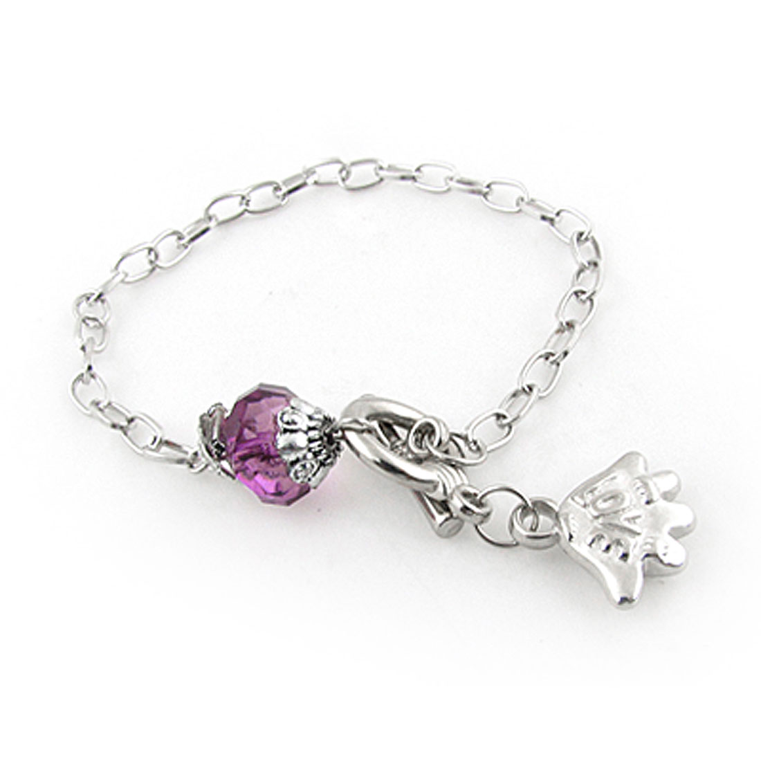 Plastic Dark Purple Diamond Pendant Silver Tone Bracelet for Women