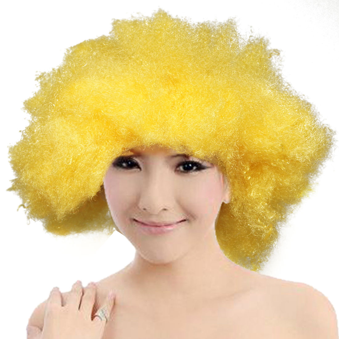 Halloween Party Cosplay Yellow Hairpiece Afro Circus Wig