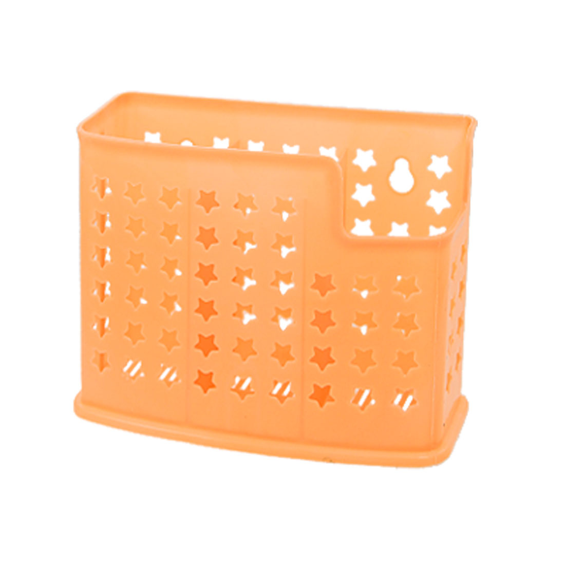Five Pointed Star Hole 3 Compartments Orange Plastic Chopstick Holder Case