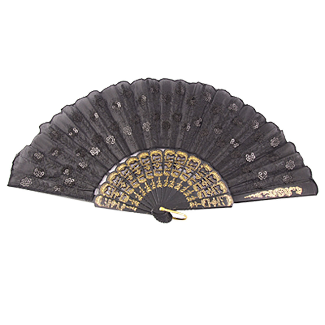 Gold Tone Embossing Pattern Black Plastic Ribs Cloth Folding Hand Fan