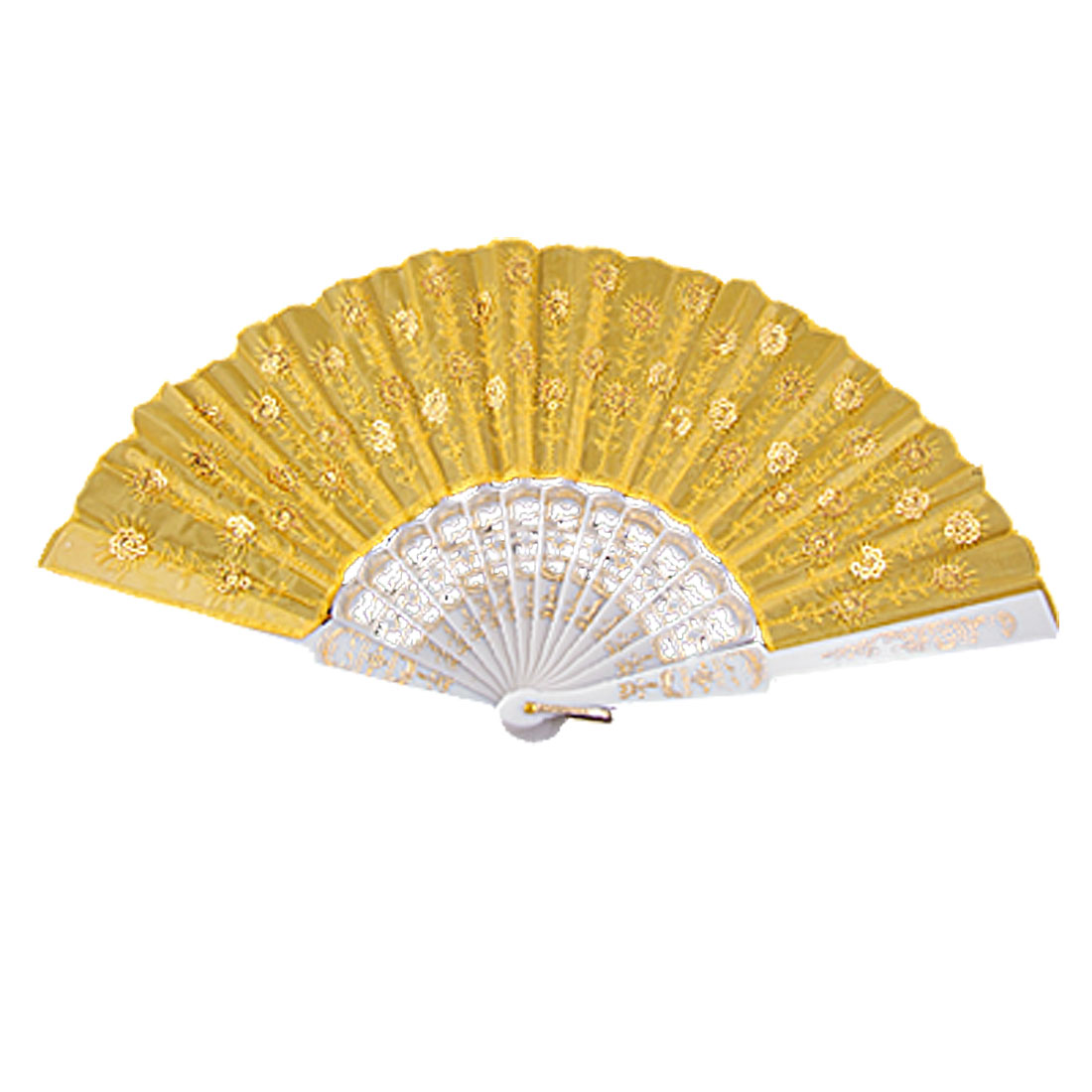 Sequin Accent Orange Embroidered Flower White Ribs Cloth Folding Hand Fan