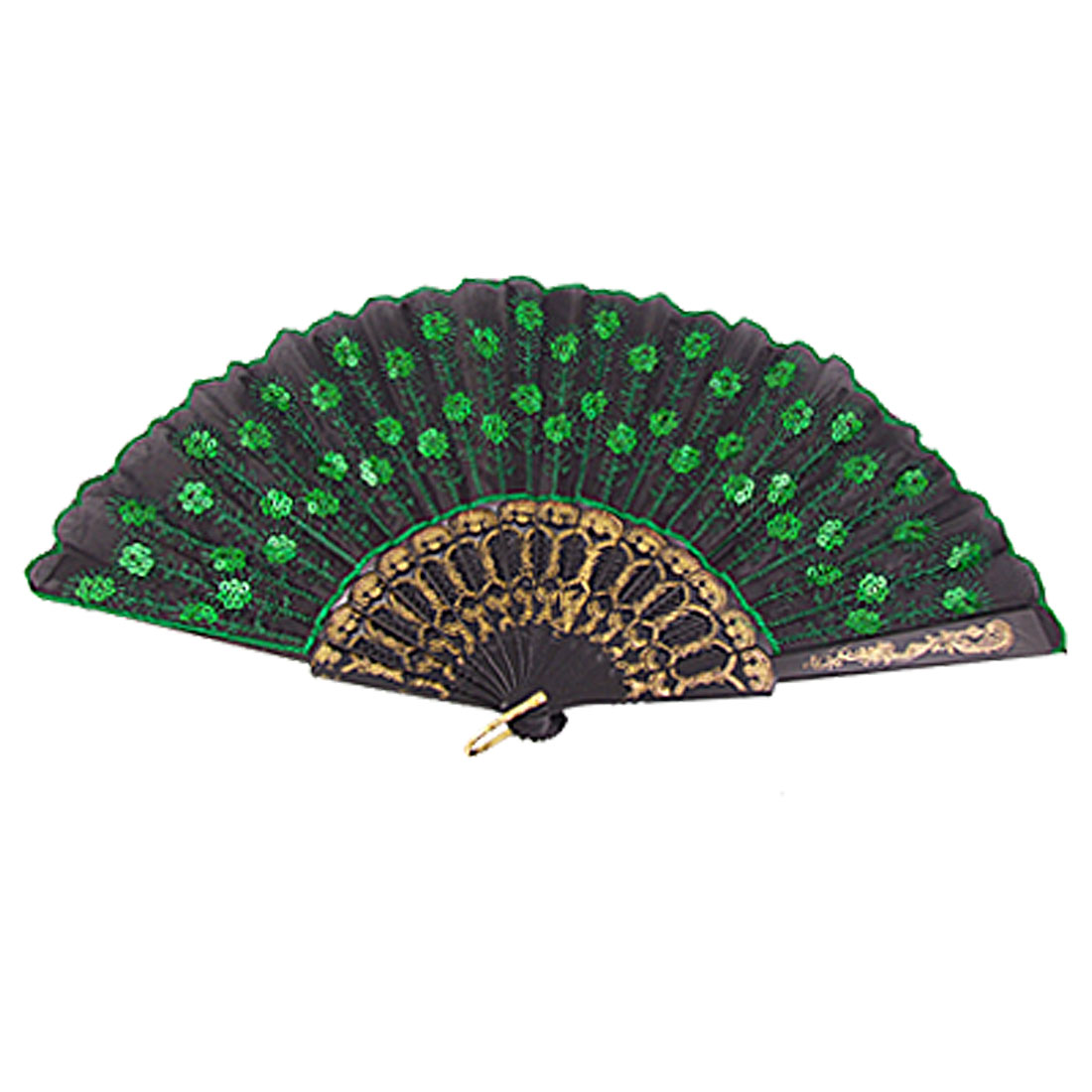 Green Sequins Flower Pattern Black Cloth Dancing Folding Hand Fan