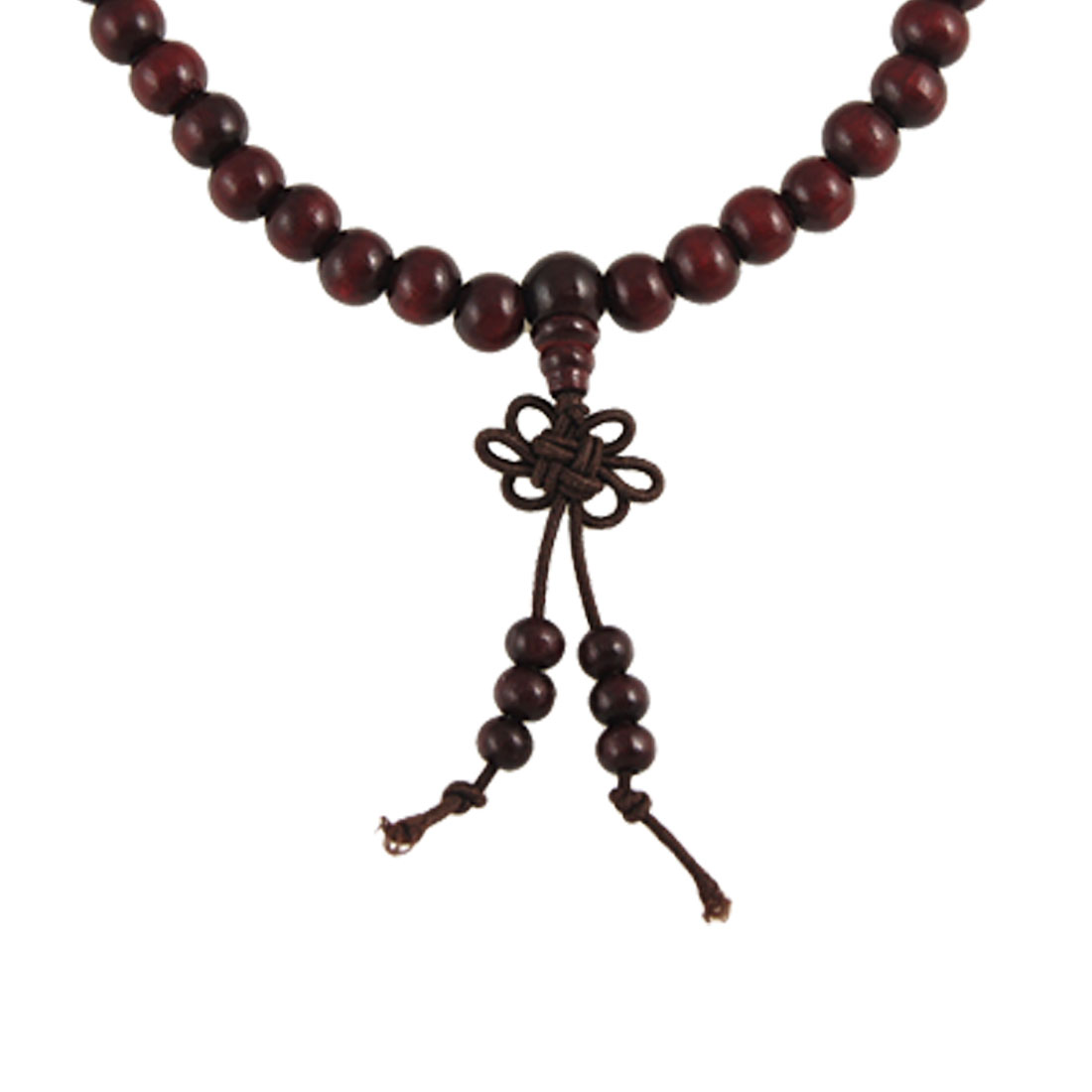 7mm Brown Sandalwood Beads Buddhist Prayer Elastic Mala Necklace