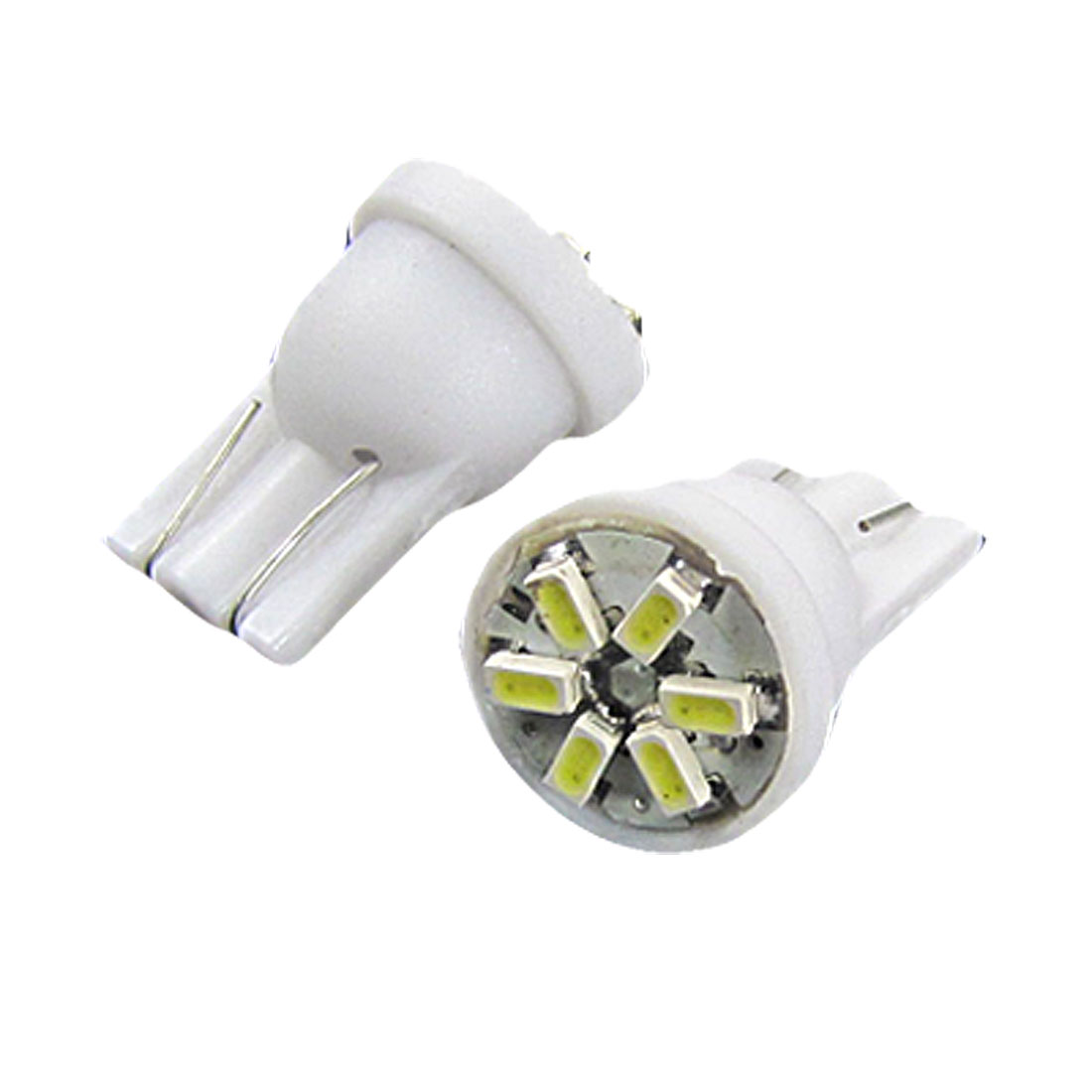 2 Pcs T10 W5W 6 1206 SMD LED Bulbs White Signal Indicator Wedge Lights for Car