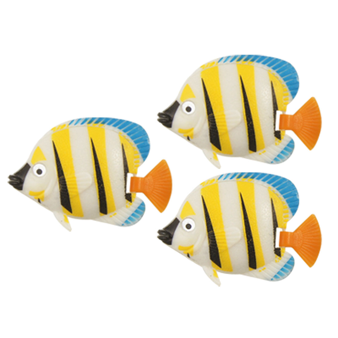 3 Pcs Aquarium Simulated Yellow Plastic Wiggly Tail Fishes