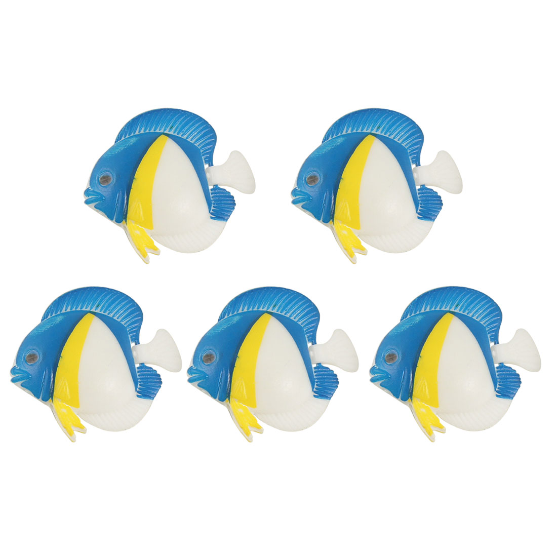 5 Pcs Artificial Floating Wiggly Tail Blue Fishes Ornament for Aquarium