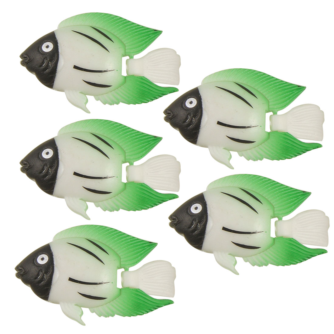 5 Pcs Floating Green Wiggly Tail Plastic Fishes for Aquarium