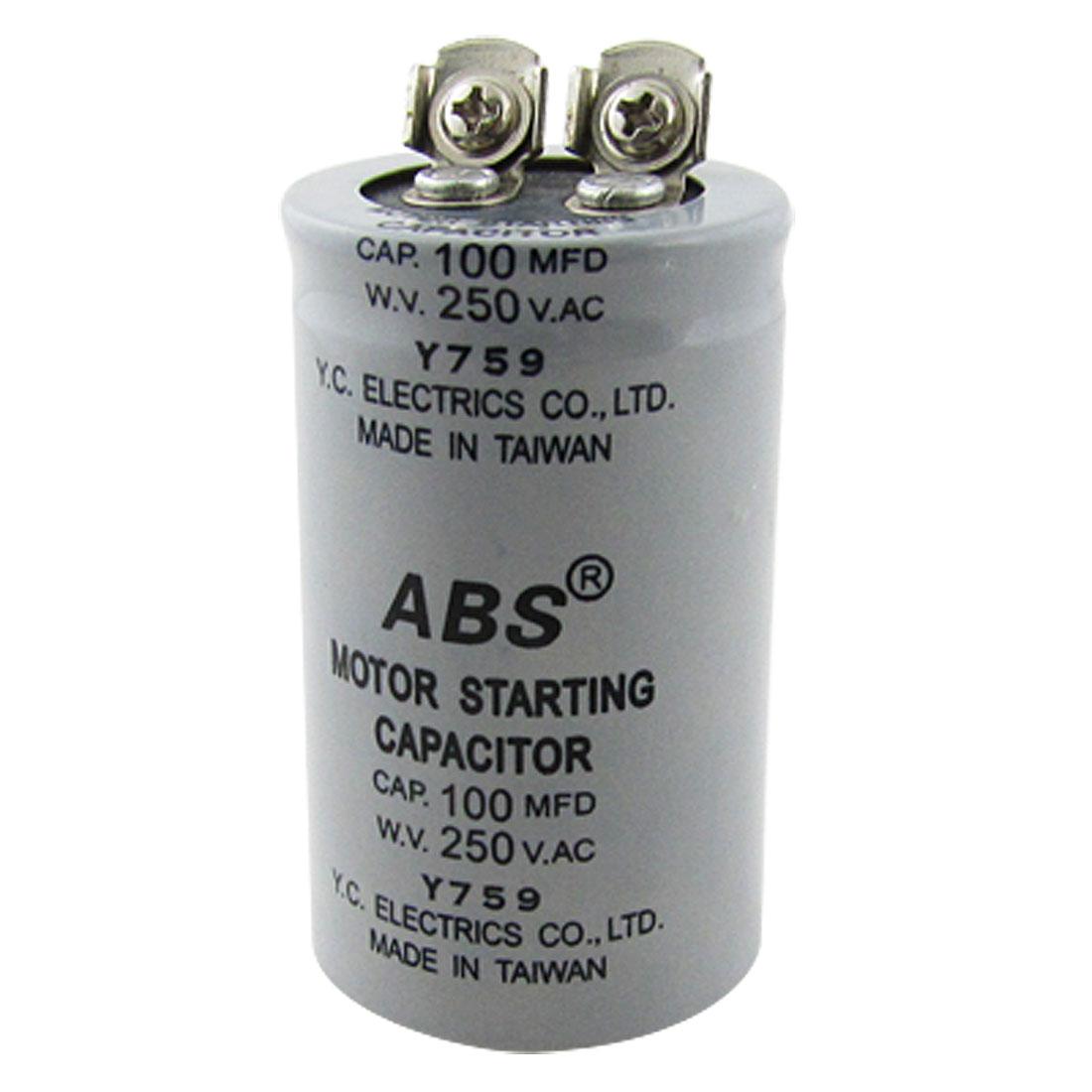 ABS 100MFD 100uF 250V AC Motor Starting Capacitor