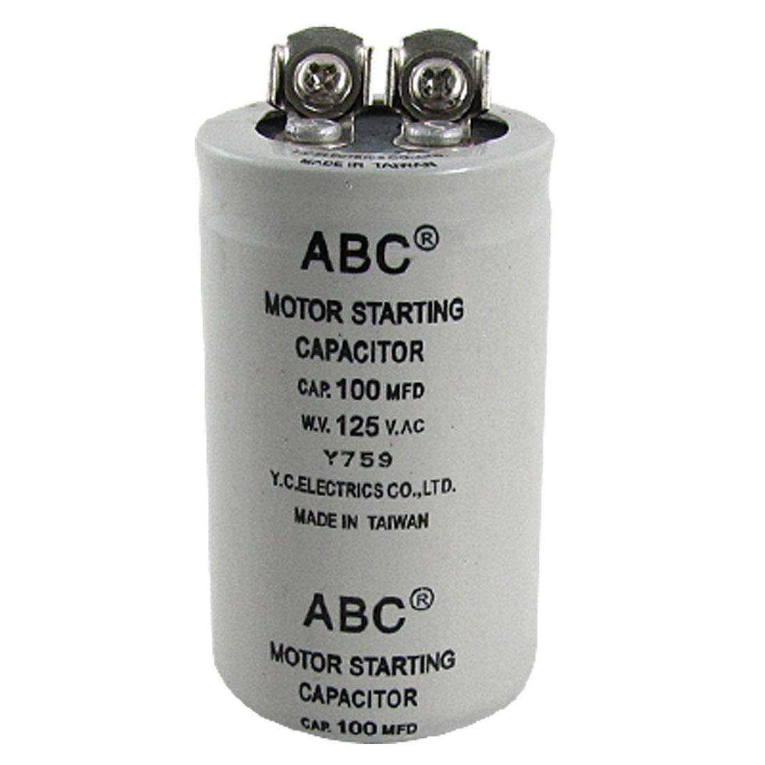 Cylinder 100MFD 125V AC Motor Starting Capacitor
