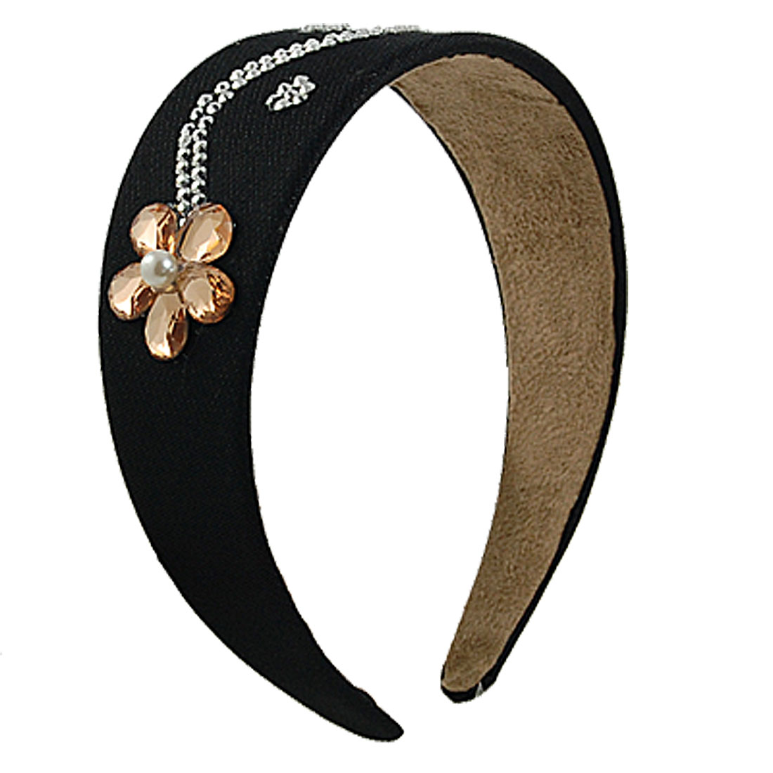 Rhinestone Decor Farbic Plastic Headband Hair Hoop Black for Women