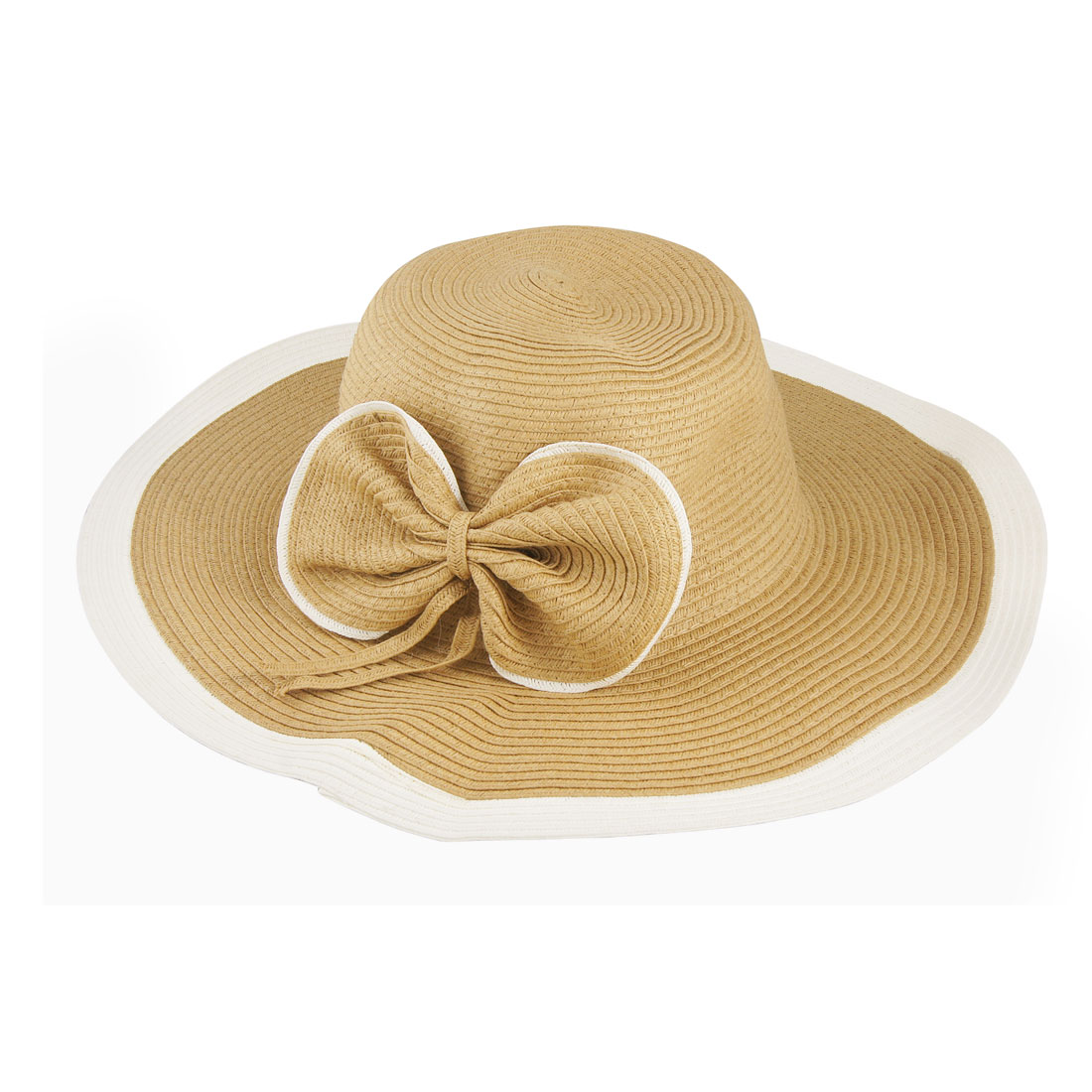 Women Bowtie Decor Wide Brim Straw Floppy Beach Hat Brown White