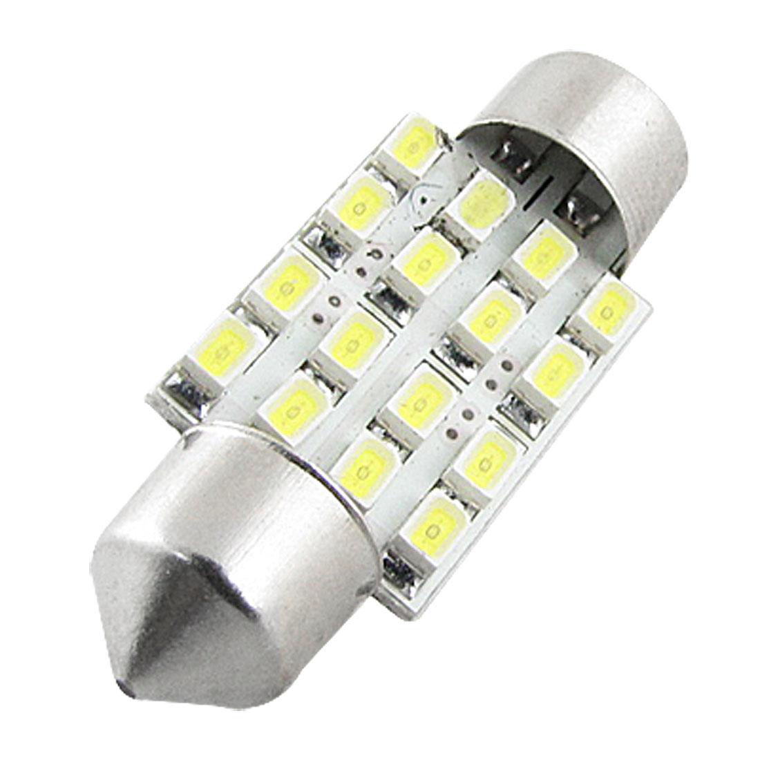 Auto Car 39mm White 1210 SMD 16 LED Interior Festoon Dome Map Light Bulb