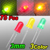 75 x 3mm Red Green Yellow Assorted Color LED Light Emitting Diodes