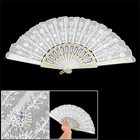 Shiny Sequin Flower Detailings Plastic Ribs White Nylon Hand Folding Fan