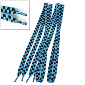 Pair Sneakers Blue Black Checkers Pattern Flat Nylon Shoelaces