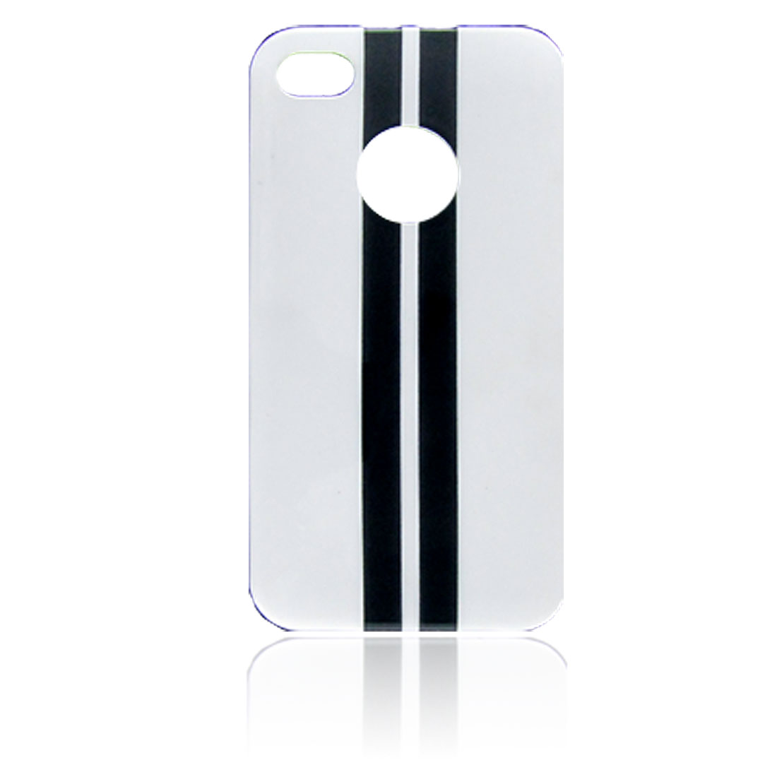 Black Stripe Pattern White Hard Plastic Back Case for iPhone 4 4G