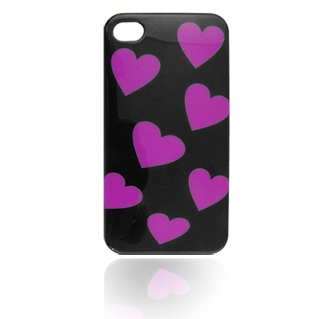 Fuchsia Heart Black Hard Plastic IMD Back Case Cover for iPhone 4 4G