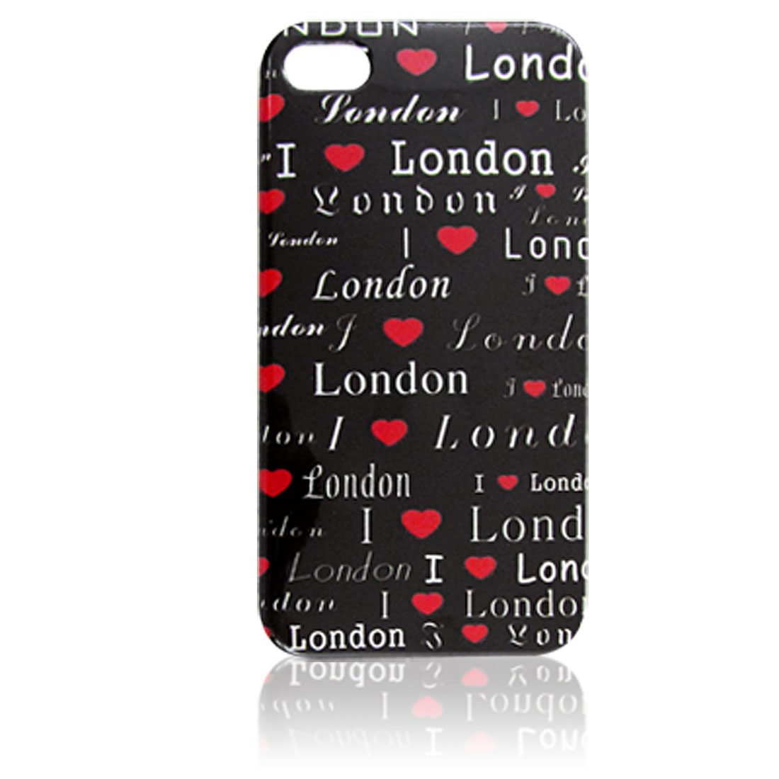 Letters Print Plastic Black IMD Back Cover Case for iPhone 4G
