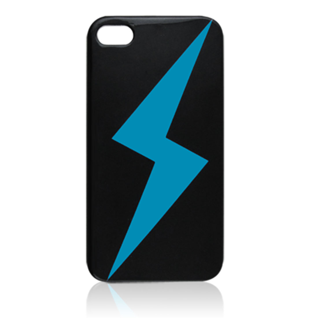 Blue Lightning Print IMD Black Hard Plastic Cover for iPhone 4G