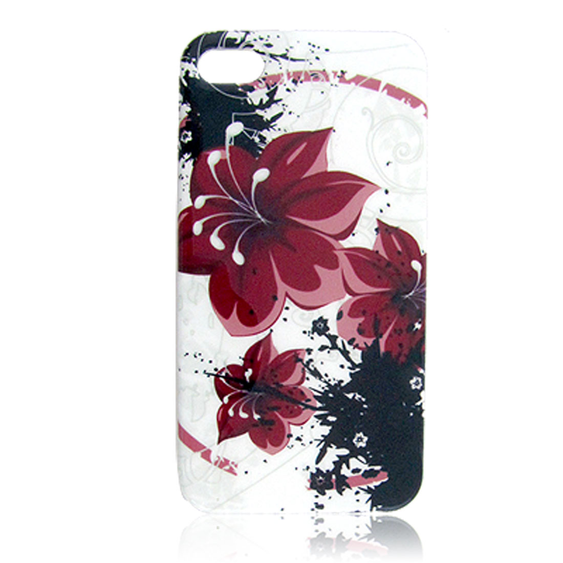Floral Print Nonslip Side Plastic IMD Back Cover White for iPhone 4 4G