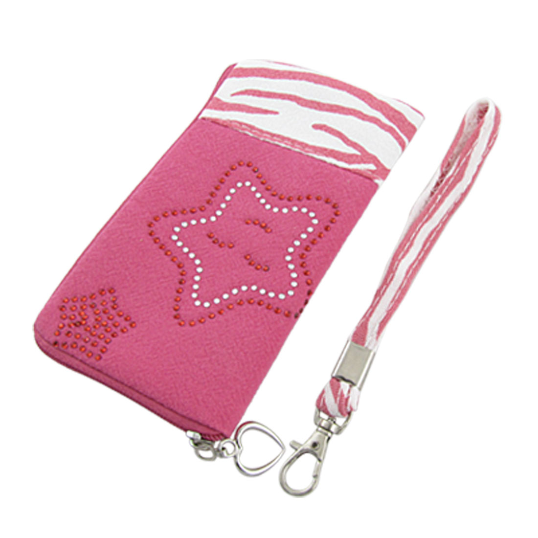 Zebra Print L Shape Zip Up Hand Pouch Rose Pink