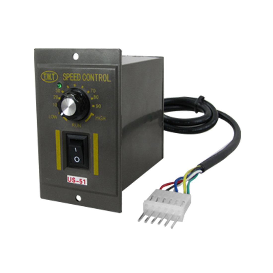 US-51 6W AC 110V 6 Pins Plug Motor Speed Controllor