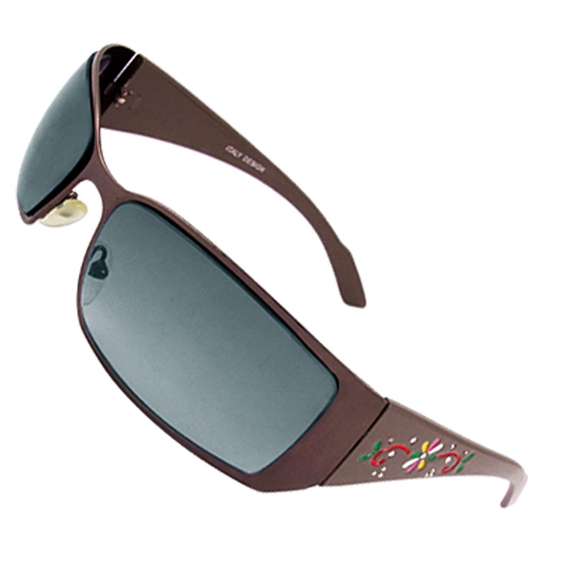 Metal Rim Plastic Arms Coffee Color Sunglasses for Ladies