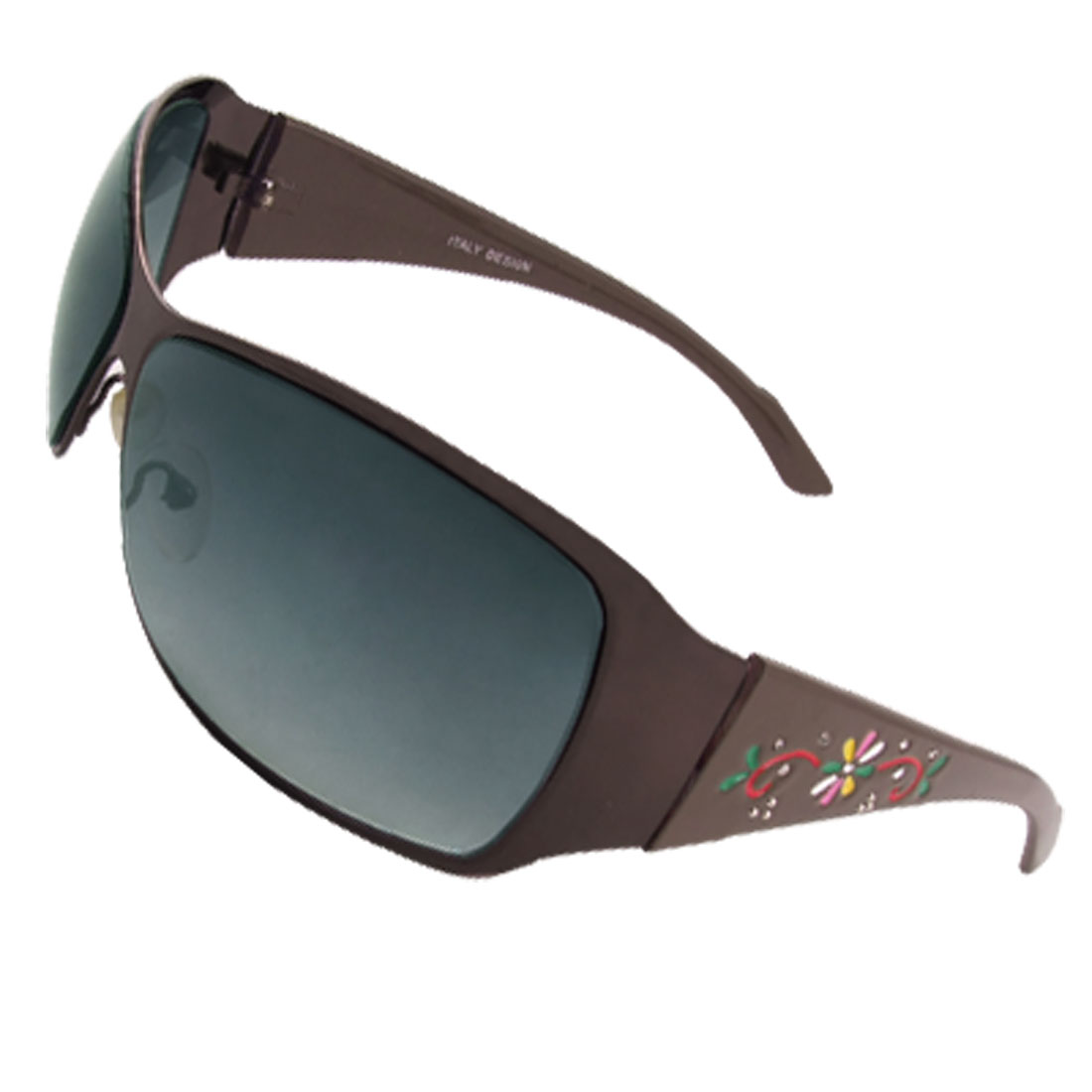Ladies Coffee Color Flower Print Tinted Lens Sunglasses