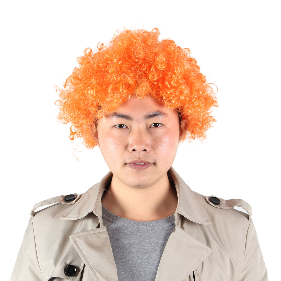 Cosplay Women Men Curly Faux Hair Extensions Afro Clown Wiggery Wig Orange