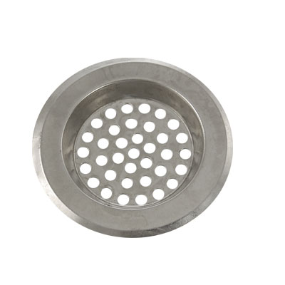 "Bathroom Silver Tone Metal 3.1"" Diameter Floor Drain Strainer Cover"